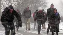 winter walk up Slope video frame