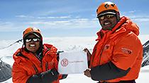 Deeya Bajaj and Ajeet Bajaj near Mount Everest summit