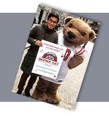 alumnus with Big Red Bear