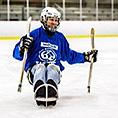 David Crandell on hockey sled