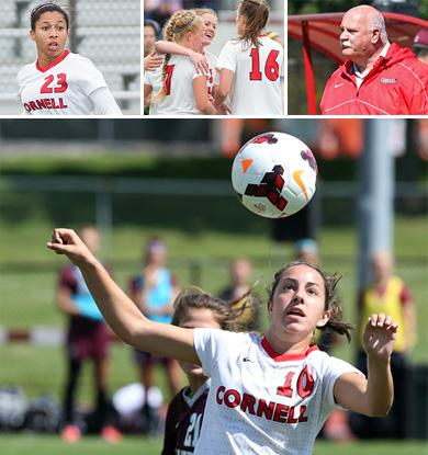 Cornell women's soccer and coach Patrick Farmer collage