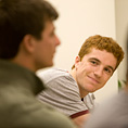 Student listens to Josh Tetrick