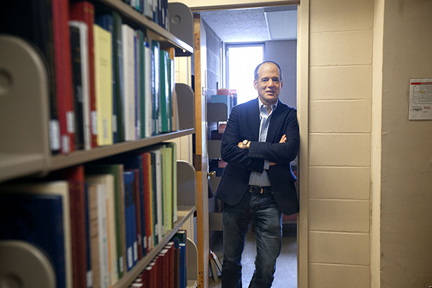 Barry Strauss in his Olin Library faculty study